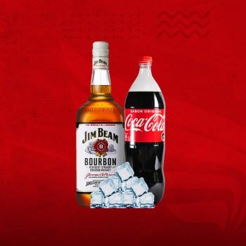 Promo Whisky XL: Jim Beam 1ltr + Coca 1,5 + Hielo