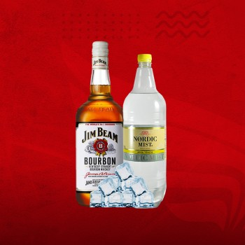 Promo Whisky XL: Jim Beam 1ltr + Tonica 1,5 + Hielo